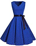 bridesmay 1950er Vintage Rockabilly V-Ausschnitt Kleid Retro Cocktailkleid Schwingen Kleid Faltenrock Royal Blue Small White Dot M