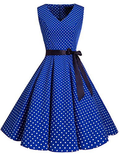 bridesmay 1950er V-Ausschnitt Kleid Vintage Cocktailkleid Rockabilly Retro Schwingen Kleid Faltenrock Royal Blue Small White Dot XL