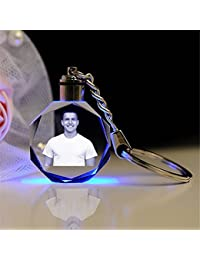 Aadya 3D Crystal Engraved Gifts - Single Image 2D Photo Personalized Laser Engraved Crystal Round Shape Key Chain...