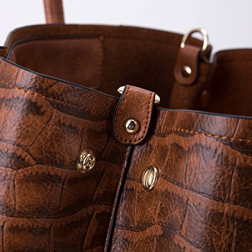 Ol Pendler-Krokodil-Muster-Handtasche Mode Schulter Messenger Bag Braun