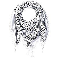 "Hirbawi Premium Arabic Scarf 100% Cotton Shemagh Keffiyeh 47""x47"" Arab Scarf (Black White)"