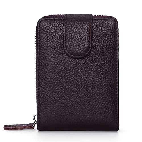 Mode Cortex Führerschein aus Leder Ledertasche Kartenetui aus Leder Zipper Wallet Multifunktions-Führerschein Leather (Color : Brown, Size : S)