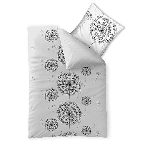 2-teilige Bettwäsche | verschiedene Größen | 4-Jahreszeiten Baumwolle Renforcé OEKO-TEX | 2 tlg. 155 x 220 cm | CelinaTex 0003325 Fashion Fancy Weiß Schwarz Wende-Design