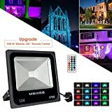 MEIKEE 50W RGB LED Flood Light, 16 Colors 4 Modes RGB Security Light with 360� RF-Wireless Remote Control, Memory Function, Waterproof Color Changing Outdoor LED Floodlight Decoration for Garden, Landscape, Party, Christmas, Halloween