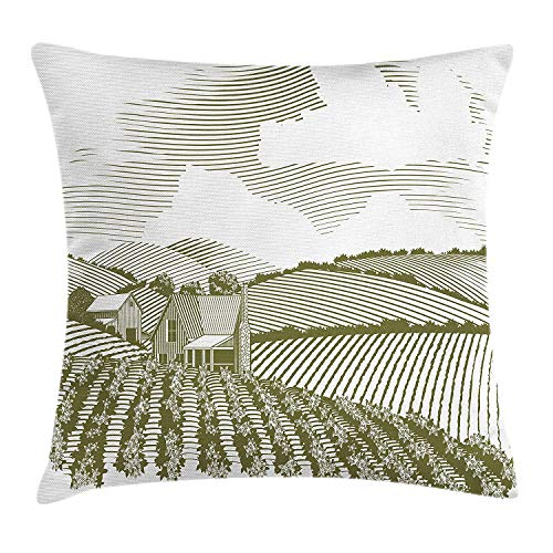 (JIEKEIO Farmland Throw Pillow Cushion Cover, Rural Plains with Crops and Barn Monochrome Agriculture Illustration, Decorative Square Accent Pillow Case, 18 X 18 inches, Reseda Green and White)
