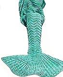 Cola de sirena manta, manta de sirena adultos, netchain cola de sirena manta para adultos y kidt, Crotchet de cola de la Sirenita infantil (para niñas, super suave mantas de dormir todas las estacione (Green, 71x35.5)