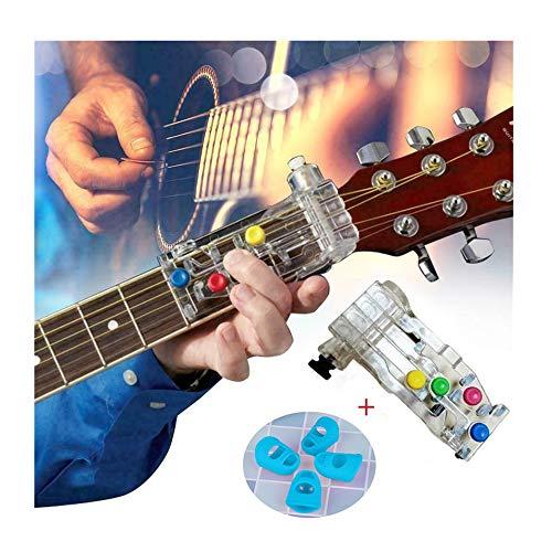 Fahooj Hilfstrainer Lehrmittel Gitarrenhilfe Druckknopf-Gitarrenunterricht für Gitarre Westerngitarre Akustische Klassische Gitarre mit 4 Fingerschutz (23 × 19 × 4.5cm, Mehrfarbig) -