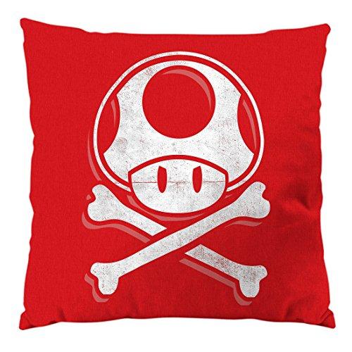 A.N.T. Toadskull Kissen mit Füllung 28 x 28 cm Baumwollbezug mario totenkopf videospiel konsole super world, Farbe:Rot