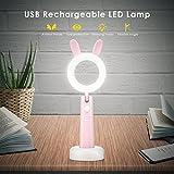 Schreibtischlampe für kinder, PAVLIT LED Augenfreundlich Nachtlicht USB Flexible leselampe dimmbar 3 Helligkeitsstufen für Kinderzimmer(Rosa)