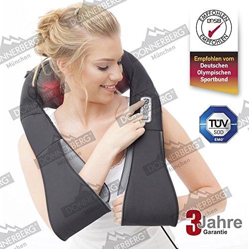 Top Angebot! Donnerberg ORIGINAL NM089 schwarz - Nacken und Schulter Shiatsu Massagegerät mit Infrarotwärmefunktion TÜV-Zertifikat