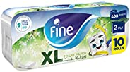 Fine XL Toilet Paper, 400 sheets x 2 Ply, Pack of 10 Rolls