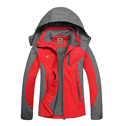 Diamond Candy Giacca a Vento softshell per Women con cappuccio da Trekking Montagna Pouring Adventure e Outdoor Sports,Rosso XS
