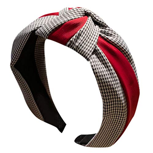 CANDLLY Stirnband Damen, Kopfbedeckung Zubehör Frauen Gestreiftes Karierten Leopard Bogen Stirnbands Haarband Haargurt Zubehörs Kopfschmuck (Rot-2,One size) -