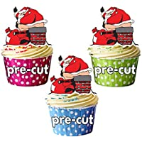 AK Giftshop PRE-CUT Santa Poo - Edible Christmas Cupcake Toppers/Cake Decorations (Pack of 12)