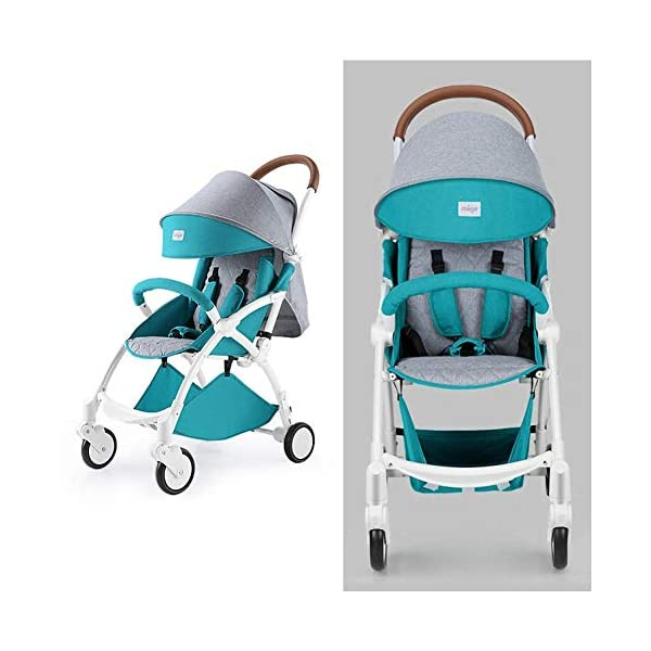 ZLMI Pushchairs Lightweight Pram Buggies Travel System Foldable Buggy 0-3 Years Old Baby Stroller bb Car,B ZLMI The adjustable 5-point safety harness has comfortable shoulder pads, The sturdy frame has a wider seat which results in a more comfortable ride for your child The stroller can be easily folded, smaller and more portable; the adjustable backrest angle can be seated or lying down, as well as a large shopping basket and caster The body is made of high-quality steel pipe, strong and durable, strong load-bearing, soft pedals, safe and environmentally friendly, will not scratch the baby, strong toughness and durability 1