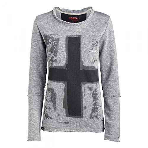 Rockstars & Angels Sweater Cross Damen dark Grey, Größe:XL (Cross Dark Damen T-shirt)