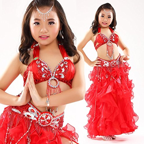 HUOFEINIAO Kinder Bauchtanz Kostüm Bauchtanz Kostüm Mädchen Indien Tanz Rock Set Rot/Blau/Lila/Grün/Pink/Gelb,Red,S