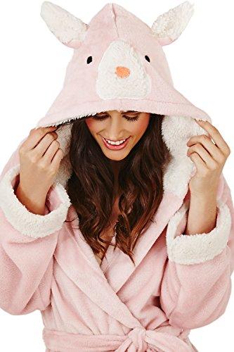 Loungeable Boutique - Robe de chambre - Avec taille nouée - Manches Longues - Femme Pink Rabbit