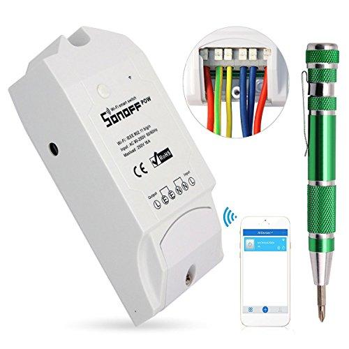 Sonoff Pow WiFi Inalámbrico Interruptor ON/Off 16A Con Medición del Consumo De Energía en Tiempo Real de Electrodomésticos IOS Android Remoto + 9-en-1 Aleación de Aluminio de Destornilladores de Precisión (Compatible con Alexa (Amazon Echo, Echo Dot y Amazon Tap)