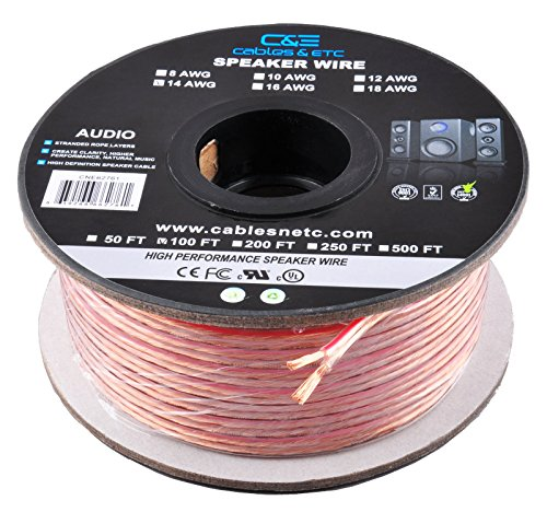 C&E Series 14 Gauge AWG 99.9% Oxygen Free Bare Copper Speaker Wire Cable with Clear PVC Jacket & Polarity Stripe (100 Feet / 30.48 Meters) Great Use for Home Theater Speakers and Car Speakers