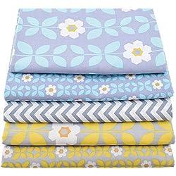 5 Telas costura vintage manualidades tapizar scrapbooking patchwork de 40 x 50 cm colores retro de OPEN BUY