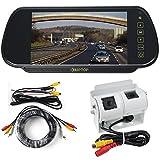 Wohnmobil Doppel Rückfahrkamera hintere Ansicht Kit mit Spiegel Monitor (Weiß-Kamera)