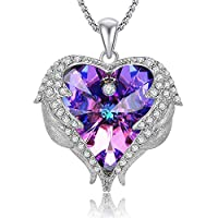 Caperci Valentines Gift Purple Swarovski Crystal Heart Pendant Necklace for Women Daughter and Girls, 18''