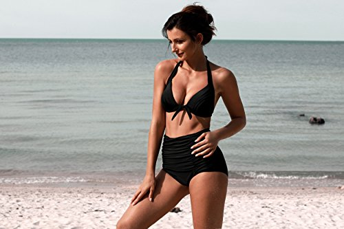 Angerella Vintage Bademode mit Faltenwurf hohe Taille Bikini Set (SST016-B1-L) - 6