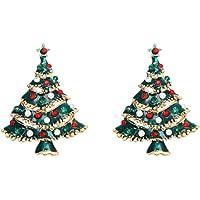 Amosfun 2pcs Spilla Albero di Natale Spilla Strass Natale Spilla Decorativo perni Donna per Regali di Natale