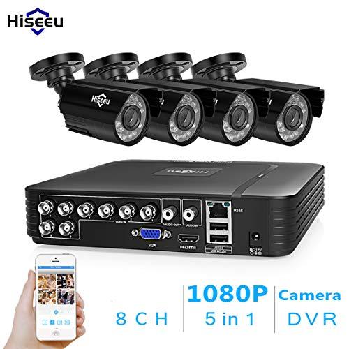 LLC - Hiseeu 2MP 8CH POE VideoÜberwachungssystem, 4pcs Wired Outdoor 1080P IP-Kameras, unterstützt Max 8 Kanal NVR Sicherheitssystem mit 1 TB HDD für 24X7 Stunden Aufnahme True H. 264 Dvr