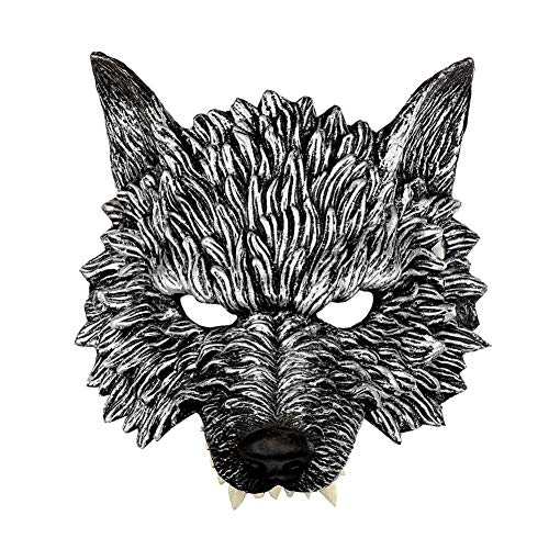 Rowentauk Unisex 3D Halloween Maske, Neuheit Halloween Kostüm Cosplay Party Animal Wolf Kopf Maske