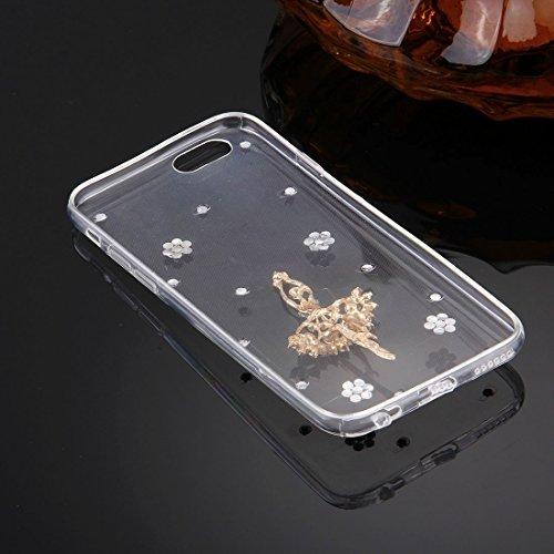 Wkae Case Cover Für iPhone 6 &6s Diamant verkrustete Glas-Katze-Perlen-Bell-Muster-weiche TPU-Schutzhülle Cover-Rückseite ( SKU : IP6G5600B ) IP6G5600S