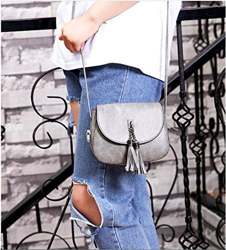 19f87d8d46421 ... Ammon Lowen Damen Umhängetasche Mini Kreuz Körper Frauen Handtasche  Bodybag Mini kleine Schale Taschen Grau ...