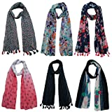 #5: FusFus Women's Printed Trendy Stoles, Free Size(Multicolour, F0152) - Pack of 6