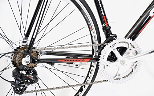 51CpMBSO1bL - AMMACO XRS650 MENS ALLOY RACING ROAD BIKE SHIMANO 14 SPEED FRAME 48CM BLACK/RED