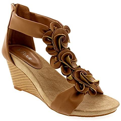 Womens Floral Low Wedge Heel Open Toe Summer Ankle Strap Holiday Sandals - Tan - 8 - 41 - CD0225E