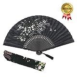 """OMyTea - Ventaglio manuale pieghevole """"Grassflower"""", da donna, in stile rétro vintage cinese/giapponese, con custodia in tessuto per proteggerlo, Black"""