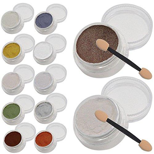 Vococal® 12 Couleurs Nail Art Poudre Effet Miroir avec 24Pcs Bâton Éponge,1g