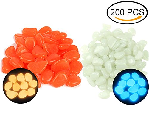 Leuchtsteine, Nunen 200er Leuchtkiesel leuchtende Kiesel Aquarium Garten Deko, Leuchtende Deko Steine, nachtleuchtende Steine (Fairy Garden Kreativität Für Kinder)