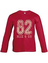 Supportershop T-Shirt Rouge Manches Longues 82 Mix and Co Enfant