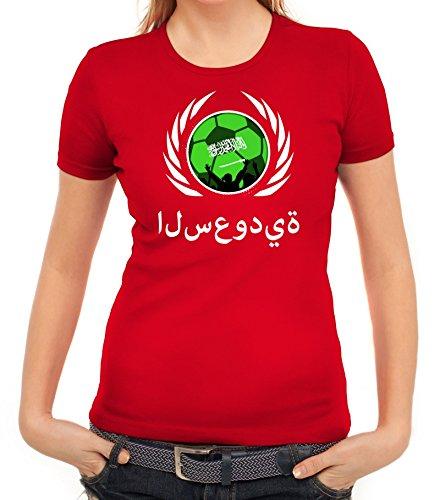 ShirtStreet Wappen Soccer Fussball WM Fanfest Gruppen Fan Wappen Damen T-Shirt Fußball Saudi-Arabien Rot