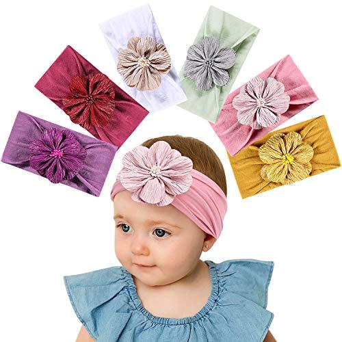 Tacobear Haarband Baby Stirnband Baby Mädchen elastische Haarband Bowknot Kopfband Turban Stirnband Schleife Baby Haarschmuck für Baby Kleinkinder (6 Blume Baby Stirnband B) (Für Mädchen Baby-designs)