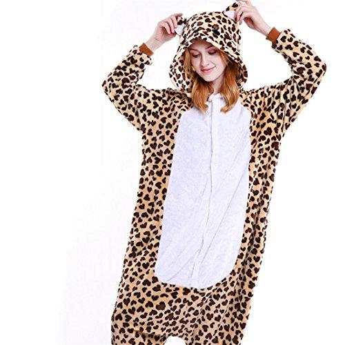 IFLIFE Kigurumi Pijamas Traje Disfraz Animal Adulto Halloween Cosplay S(para Altura:148-158cm), Leopardo