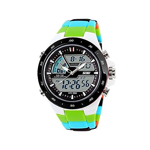 zonman® Teen de Sweety corlourful Ruban comme Double Temps LED électronique numérique multifonction poignet montre sport étanche 5ATM
