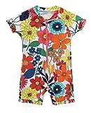 Attraco Baby Badeanzug Mädchen Rash Guard UV Kurzarm Süßes Blumen Druck One Piece Bademode UPF50+ Orange Blumen 0-3 Monate