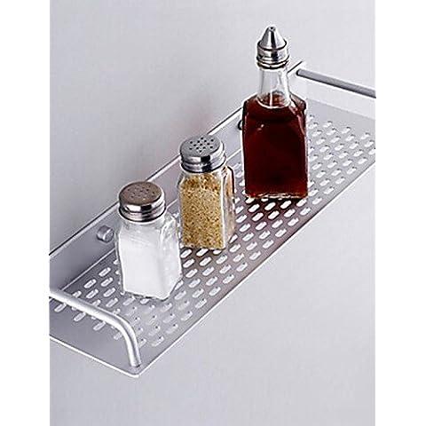 Baño Cocina montados en la pared de la aleación de aluminio de capa simple rectángulo Bandeja de almacenamiento Cesta