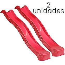 Tobogán Infantil [Pack 2] 135 cm BlueRabbit® - Parque Infantil - Color Rojo - Plataforma NO INCLUIDA