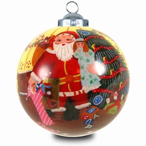 SIKORA INNENGLASMALEREI Weihnachtskugel Glaskugel Motiv WEIHNACHTSMANN - D:7,5cm