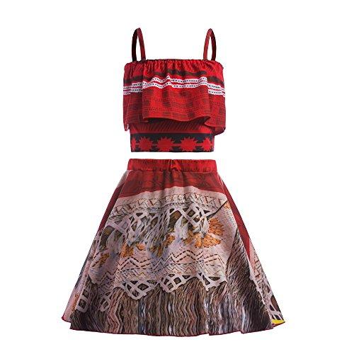 Prinzessin-Moana-Kostüm für Mädchen, Rock, Set für Kleinkinder, Kinder, Party, Verkleidung