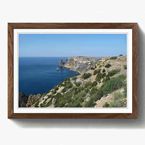 BIG Box Art Seascape Black Sea Ukraine Druck mit Eichenholz Rahmen, Mehrfarbig, Größe A2, 24,5x 18_ P, Holz, walnuss, 24.5 x 18-Inch/A2